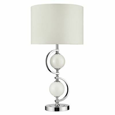 CHROME TABLE LAMP WITH CREAM GLASS & DRUM SHADE - Searchlight 1965WH
