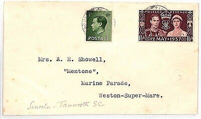 JJ178 1937 GB RAILWAY LATE FEE *Lincoln Tamworth SC* TPO KEVIII Franking Cover