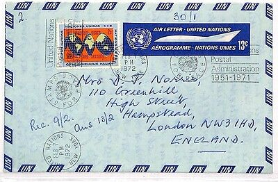 VV482 1972 USA UNITED NATIONS AEROGRAMME New York GB Cover {samwells-covers}