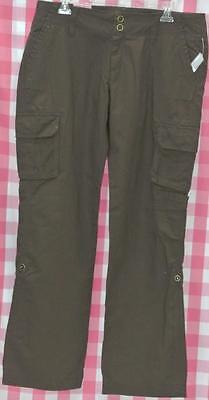 OLD NAVY Casual Brown Cargo Pant Straight/Capri Stretch Ladies Size 12 Inseam 32