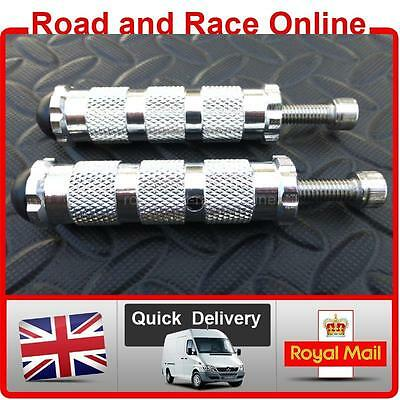 Race Foot Pegs For Rearsets 8mm Fixing Silver CNC Knurled Aluminium Universal +