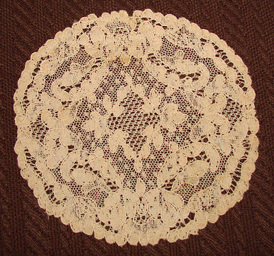 10 Antique Alencon Lace Goblet Rounds, Coasters, Doilies - 6""