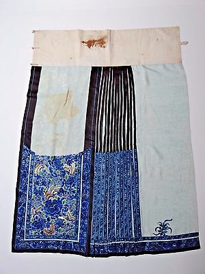 19th C. Ching Dynasty Chinese Silk Embroidered Apron Skirt-PARTIAL