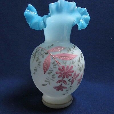 Antique Victorian Bristol Satin Art Glass Enamel Pink Flowers Ruffle Rim Vase