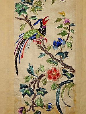 19th C. Qing Ching Dyn. Chinese Silk Embroidered Sleeve Bird Bands- UNUSED PAIR