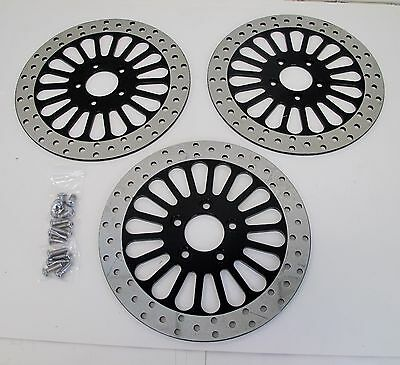 "Dna Black 11.8"" Dual Front & Rear Brake Rotors 08-15 Touring Flh/t/r/x Harley"