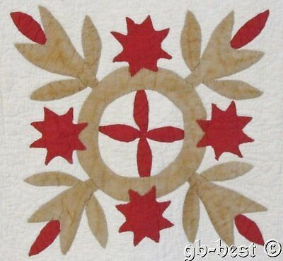 EARLY PA c 1870s Album Block APPLIQUE Quilt Stars HEX Documented