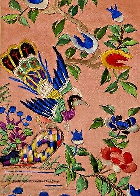 19th C. Qing [Ching] Dyn. Chinese Silk Embroidered Bird Sleeve Band- UNUSED