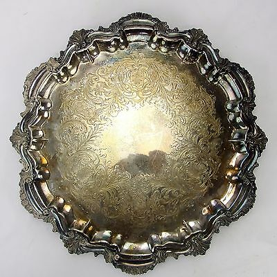 Vtg CSC Crown Silver Co Round Silverplate Footed Serving Tray Scallped Edge