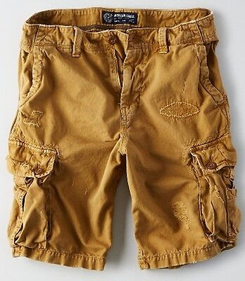 NWT American Eagle Men's Knee Length Destroyed Cargo Shorts Khaki 32 34 36 38 42