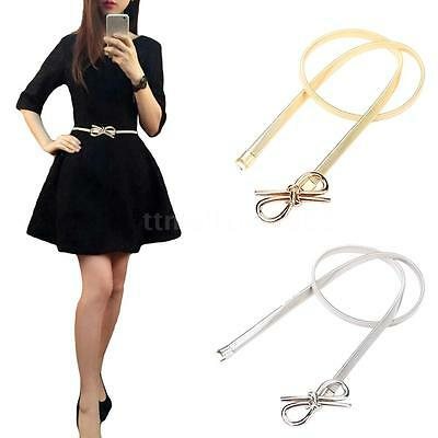 Women's Ladies Fashion Belt Bow Clasp Front Skinny Stretch Waist Strap Belt S0R2