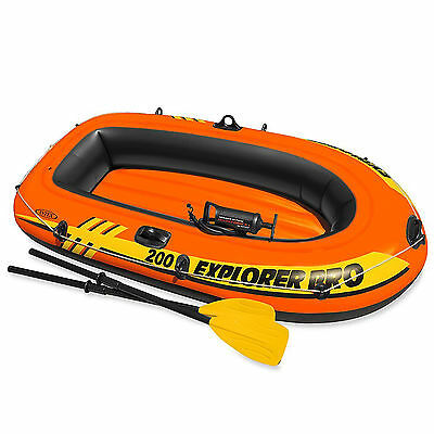 """Intex 77"""" x 40"""" Explorer Pro 200 Inflatable Boat Dinghy + Oars and Pump  #58357"""