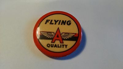 Vintage Tide Water Oil Co Flying A Quality Pin Back Badge Veedol Tydol Sign