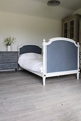 Large French Single Bed , Newly Upholstered
