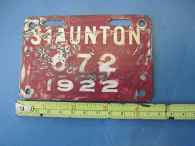 1922 Staunton Virginia city license plate attachment rare only a few known