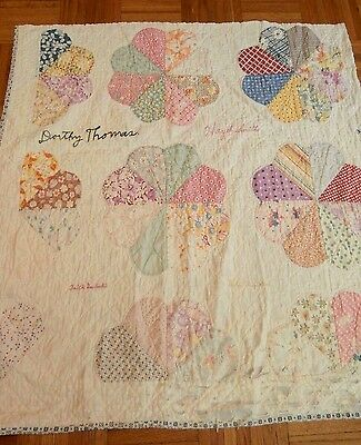 "Antique vintage Hearts Friendship cutter quilt piece 33"" x 34"" Pretty colors"