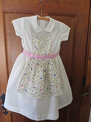Vintage 50s White Embroidered Party Dress Girls Collar Short Sleeve