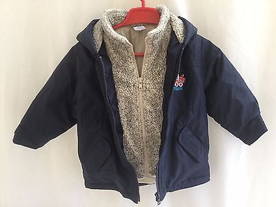 BABY BOYS NAVY BLUE PADDED SHOWERPROOF HOODED COAT - AGE18-24 months H. 92cm