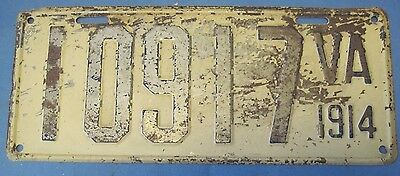 Scarce Original 1914 Virginia license plate