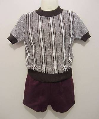 vintage childs top new brown 70's age 5 40's style world book day evacuee or roc