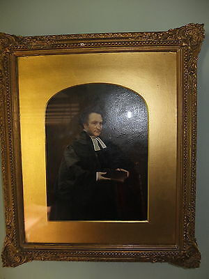 Fine victorian oil on card of Reverend William Curling, Chaplain of St Saviours