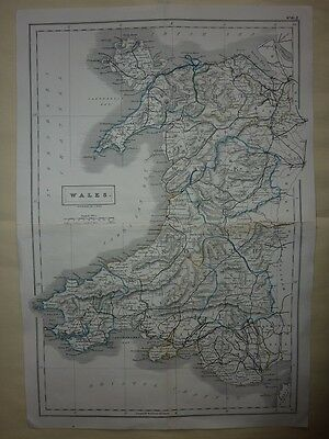 Antique Map of Wales by Sidney Hall 1831