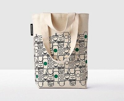 STARBUCKS Anywhere Tote Bag NWT 2017 ABSTRACT Siren Mermaid Coffee Cups Green