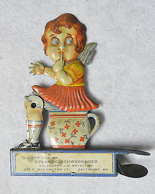 Girl On Chamberpot with Mouse Tin Lithograph Working Condition Vintage Toy