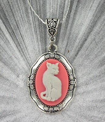 Vintage Style Cat Cameo Pendant------------- Necklace And Chain