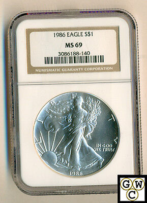 1986 American Eagle Silver Dollar 1oz. coin - NGC  MS 69 Certified
