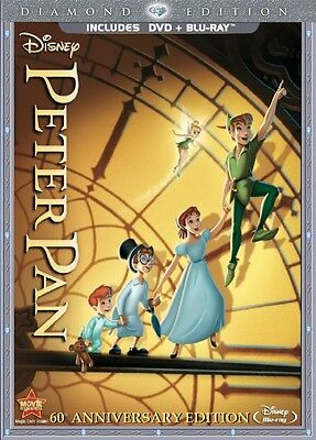 Peter Pan DVD/Blu-ray 2-Disc Set Diamond Edition New Disney with Slipcover