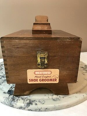 Vintage Kiwi Hand Crafted Shoe Groomer Wooden Dovetail Shoe Shine Box With Brush