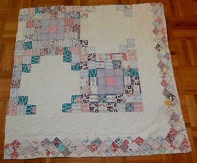 "Antique Vintage Irish Chain cutter quilt piece 31"" x 32"" primitive crafting"