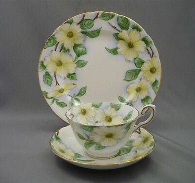 Hand Painted DOGWOOD FLOWERS Tuscan Trio Tea Cup Saucer Plate English Bone China