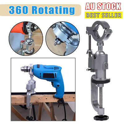 360º Mini Clamp-On Bench Vise Grinder Holder Drill Stand For Drill Rotary AU