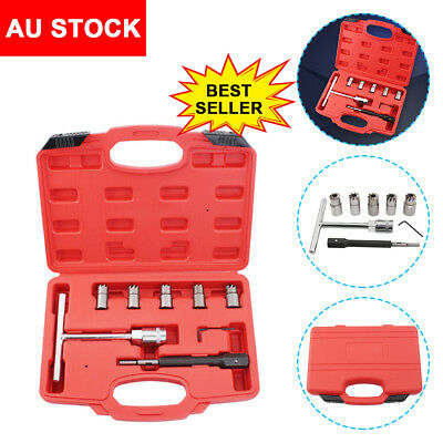 Pro 7PC Diesel Injector Seat Cutter Cleaner Tool Set Carbon Remover AU STOCK