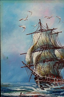 Vintage Oil ART miniature Ship on Rough Waters painting Signed Original 5x7