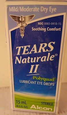 Tears Naturale II PolyQuad lubricant Eye Drops 15 ml Mild/Moderate Dry Exp 08/17
