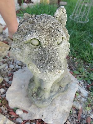 Vintage Antique Old Cement Concrete Statue Wolf Dog Lawn Garden Ornament