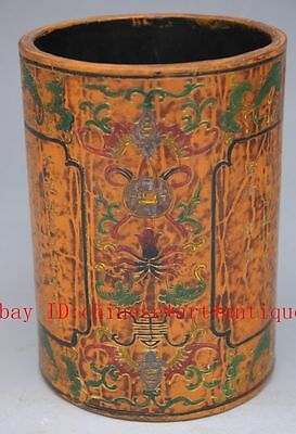 Chinese Hand-carved bat and flowers carving lacquer brush pot