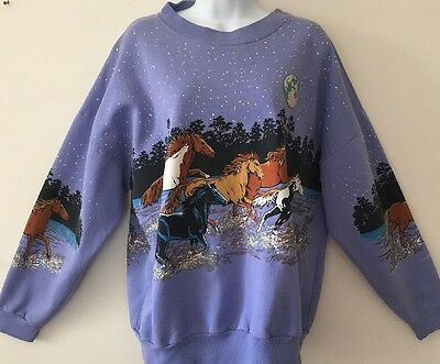 Vintage Horses Purple Puffy 90's Sweatshirt Puff Paint Nineties S M L XL OS