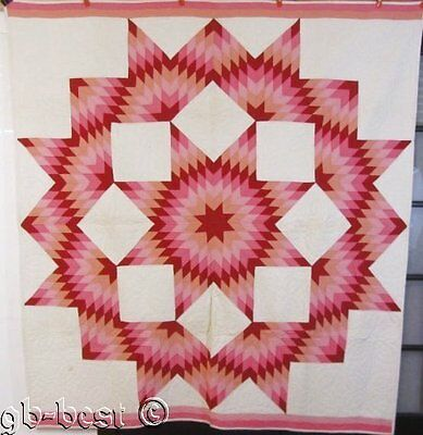 "Vibrant Color! c 1930s Broken Star Antique QUILT 80"" x 74"" Red Pink Peach"