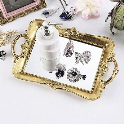 Stunning Beautiful Gold Serving Tray With Mirror Home Decor wedding cakestand