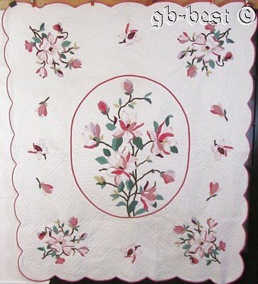 "Beautiful c 30s Floral Applique Vintage Quilt COTTAGE Sweet 88"" x 74"" Minty"