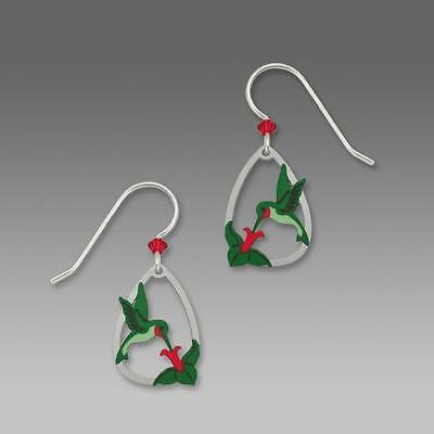 Sienna Sky Earrings Sterling Silver Hook Ruby-Throated Hummingbird with Flower