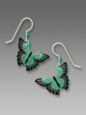 Sienna Sky Earrings 925 Sterling Silver Hook Aqua and Black Filigree Butterfly