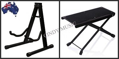Portable Folding Electric Acoustic Bass Guitar Stand + Guitarists Footstool NEW