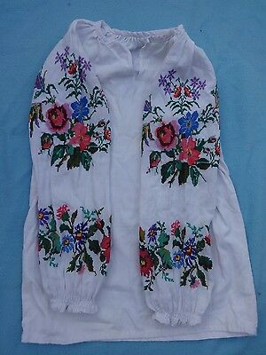 Vintage Baby Girl Vyshyvanka Ukrainian Shirt Hand Embroidered Dress 5 - 9 Years