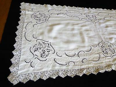 "Antique Italian White Linen Hand Embroidery Point De Venise Lace Runner 50"" L"