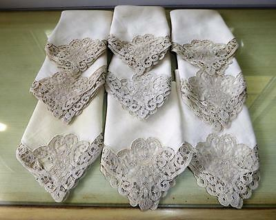 Antique Italian Cantu Bobbin Lace Linen Dinner Napkins Set Of 9